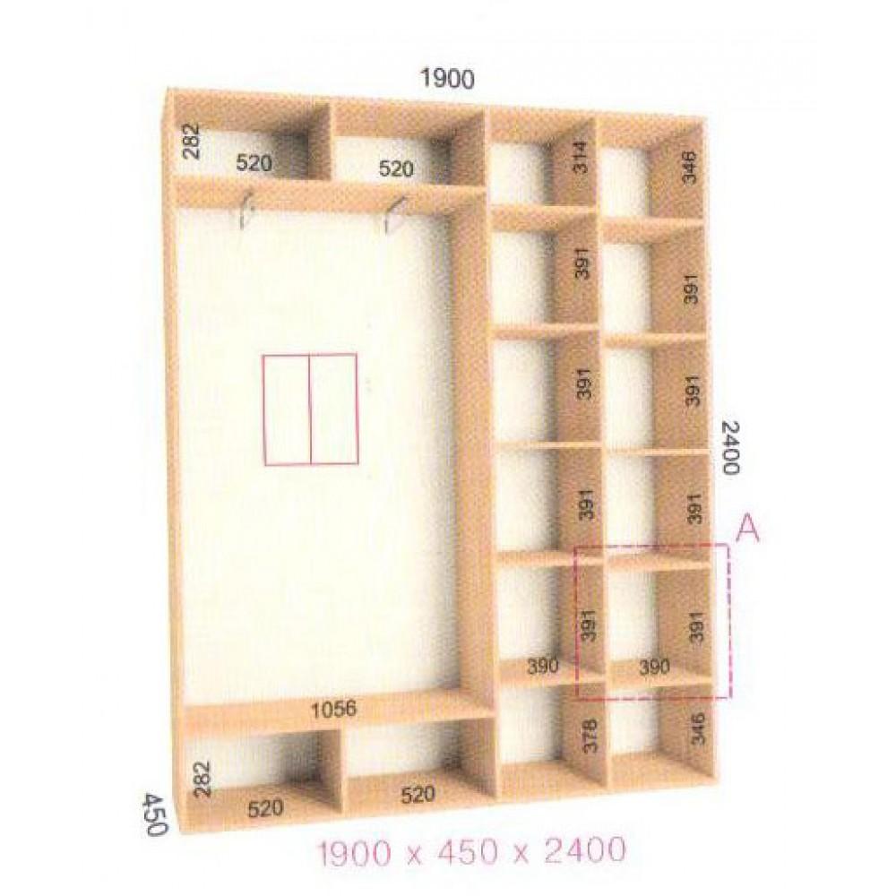 Шкаф-купе Стандарт (1.9х0.45х2.4)