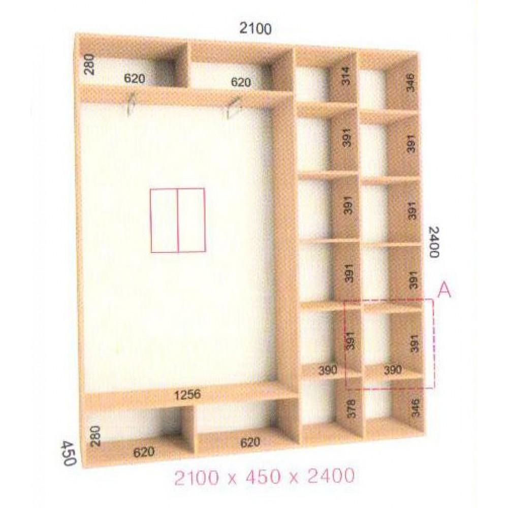 Шкаф-купе Стандарт (2.1х0.45х2.4)