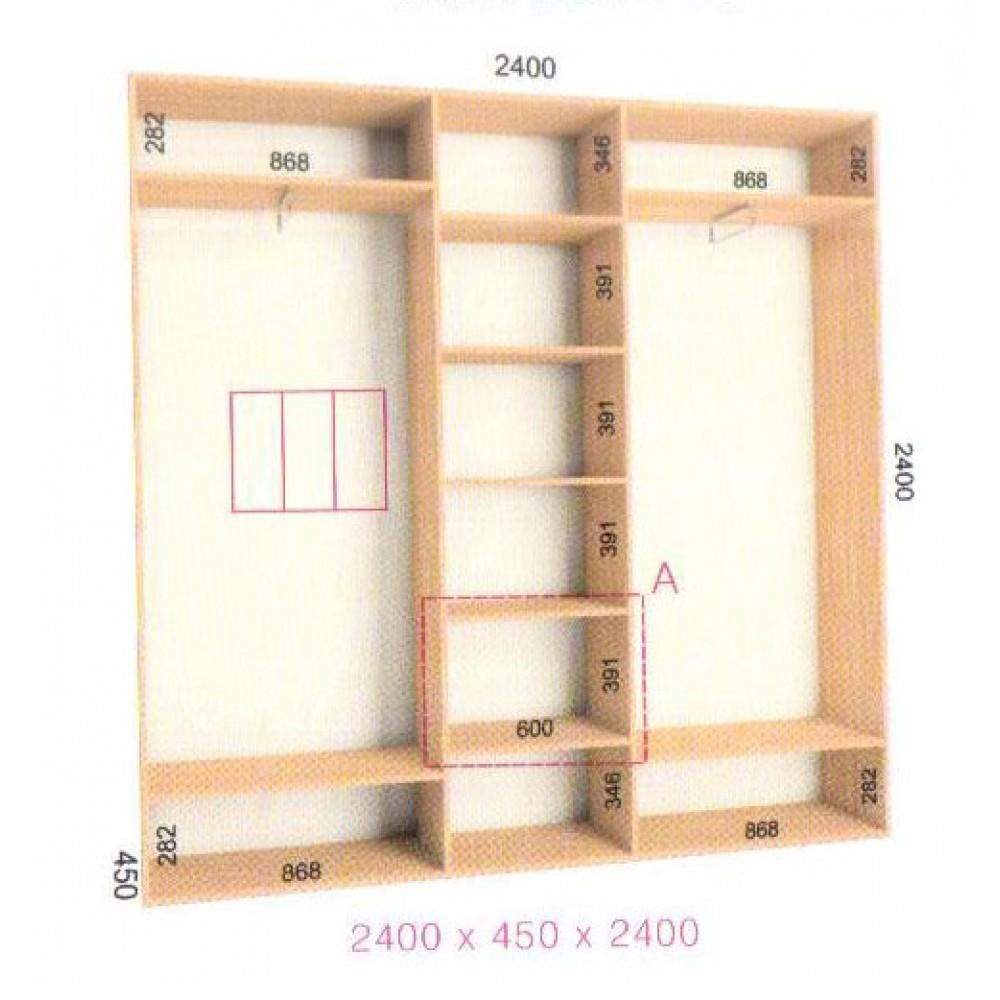 Шкаф-купе Стандарт (2.3х0.45х2.4)