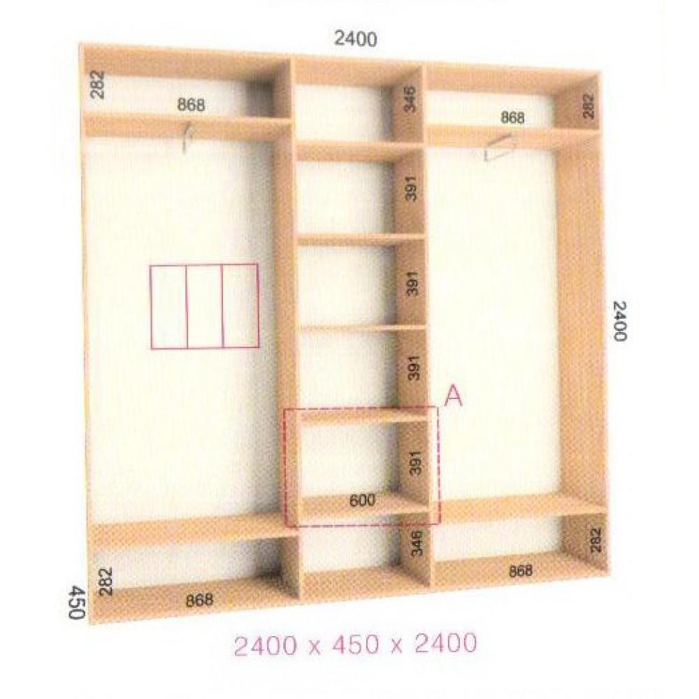 Шкаф-купе Стандарт (2.4х0.45х2.4)